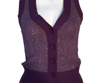 Vintage BIBA 1970s Purple Silver Metallic Herringbone Tank Top Knitted Sleeveless Cardigan UK 6 XS