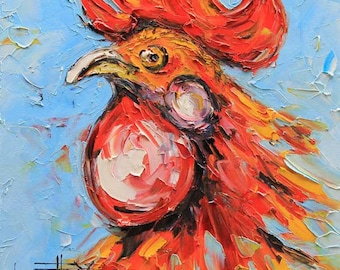Rooster Painting, Chicken Art, Palette Knife, Ready to Ship, Kitchen Art, Roosters, Hen, Rooster Decor, 20x20, Gift Art,Chickens, Farm Decor