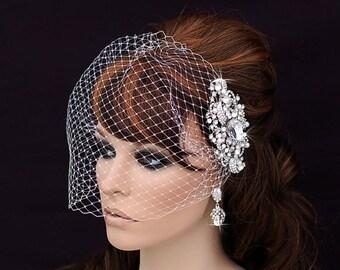 Crystal Comb and Birdcage Veil Bird Cage Short Veil Bridal Wedding Comb Bachelorette Blusher Bridal Hair Accessory Crystal Veil