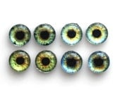 Set of 4 pairs handmade glass eye cabochons - 10mm - green eyes - Standard profile