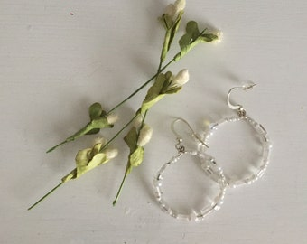 Custom Handcrafted Beaded Hoop Earrings, Wedding Dress Embellishment Jewelry, Unique and Elegant Design