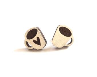Coffee Lover Studs, Coffee Cup Earrings, Coffee Earrings, Coffee Stud Earrings, Stud Earrings, Wooden Laser-Cut Earrings