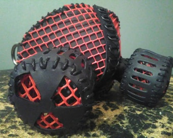 Black Leather Red Mesh Gas Mask