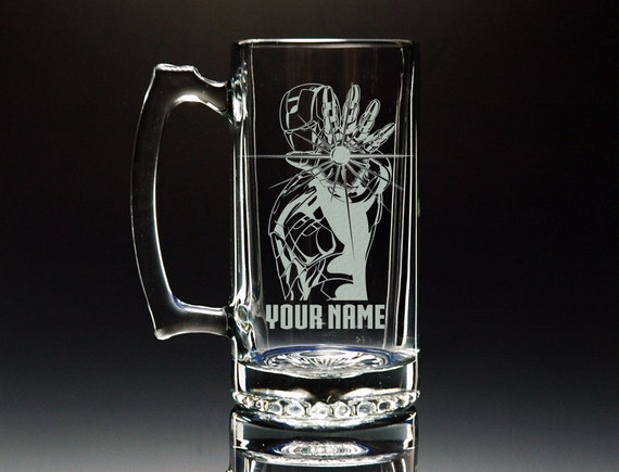 Iron Man Glass Mug Beer Mug Personalized Mug Etched Glass