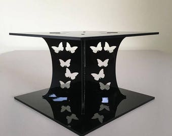 """Butterfly Square Black Gloss Acrylic Cake Pillars/Cake Separators, for Wedding / Party Cakes 10cm 4"""" High, Size 6"""" 7"""" 8"""" 9"""" 10"""" 11"""" 12"""""""