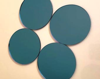"""Blue Mirrored Acrylic Circles Crafting Mosaic & Wall Tiles, Sizes: 1cm to 20cm - 1"""" to 7.9"""""""