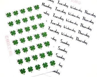Shamrock Date Covers, Planner Stickers, St. Patrick's Day, Four Leaf Clover, Matte Removable