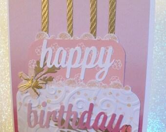 Handmade Die Cut Birthday Card or Gift Card