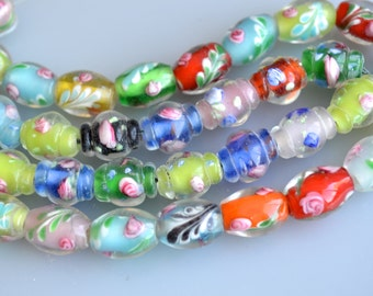 Lampwork Glass Beads Vase and Barrel Shape Size Approx.10x13mm Full Strand
