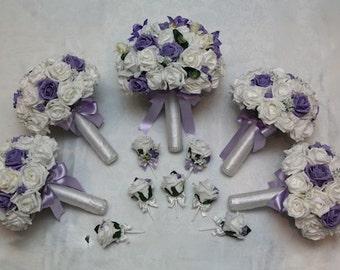 Artificial foam and silk wedding flower bouquet set