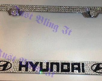Hyundai Stainless Steel bling license plate frame W Swarovski crystal clear