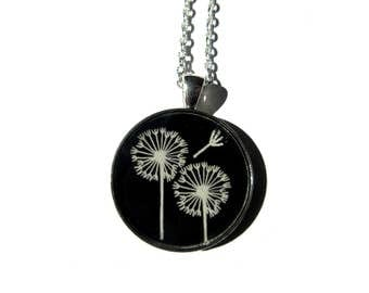 DANDELION NECKLACE - dandelion pendant - Dandelion jewelry - white dandelion earrings - flower - flower jewelry - white dandelion wish