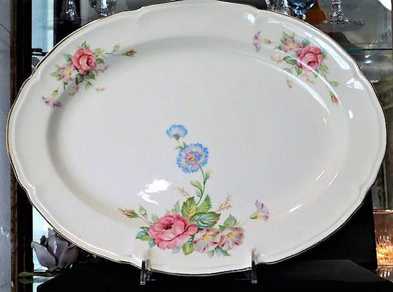 1940s Large Oval Serving Platter Early Mid Century Edwin Knowles Farm Farmhouse Country Cottage Wedding Home Decor Roses Morning Glory Peony