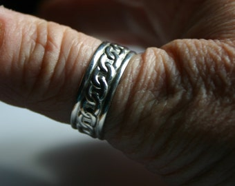 Sterling Silver Rope Patterned Thumb Ring, Spinner Ring, Wide Thumb Ring