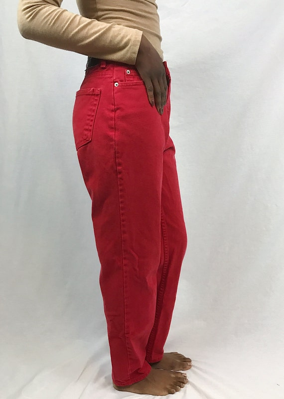 Red Mom Jeans 80s High Rise Colored Denim Jeans High Waisted