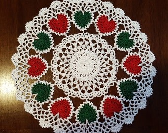 Red & Green Christmas Heart Motif Hand Crocheted Doily