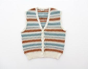 Vintage Knit Vest // 1970s Zig Zag Button Down Vest