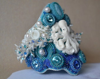 Bead Embroidered Cuff, Bead Embroidered Bracelet, Cuff, Bracelet, Beaded Cuff Bracelet, Octopus Cuff, Wearable Art, Handmade, OOAK