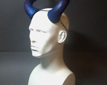 Large Devil Horns Metallic Blue, Glitter Purple and Black - Carnival, Halloween, Cosplay, Fancy dress - Demon Troll horns