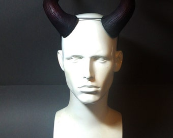 Large Devil Horns Burgundy and Black  - Carnival, Halloween, Cosplay, Fancy dress, Masquerade - Demon Troll horns
