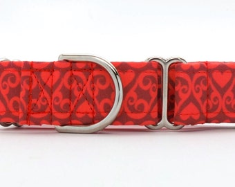 Heart Filigree Pet Collar (Martingale, Buckle, or Tag)
