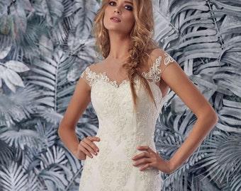 Gorgeous Bridal Lace Wedding Dress - Padma Wedding Stunning Lace Dress - Long Wedding Dress with Train - Elegant Wedding Dress