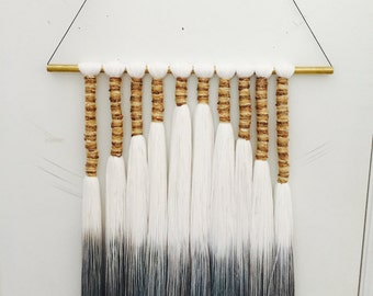 dip dyed grey ombre wallhanging with vintage gold thread