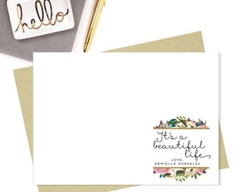 Note Cards-Personalized Stationery-5x7-Stationery-Personalized Stationery Gift Set-Beautiful Life-Personalized Note Cards-Note Card Set