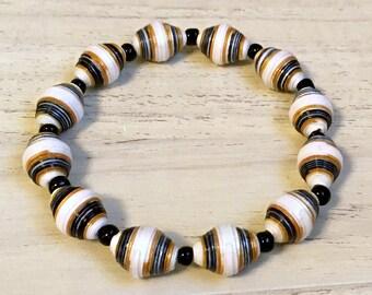Paper Bead Bracelet - Black, white and Gold Unisex