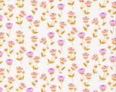 Vignette Buttercup PInk by Aneela Hoey Cloud 9 - fabric by the yard, floral fabric, woodland, leaves