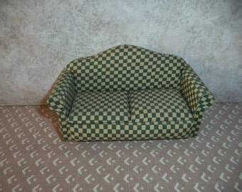 1:12 scale Dollhouse Miniature Green and tan look fabric checker sofa