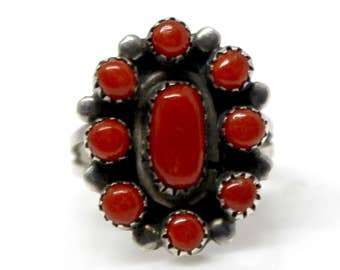 Sterling Silver Native American Oval Ox Blood Coral Cluster