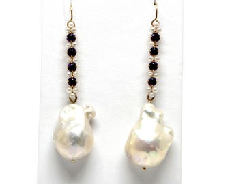 14k Yellow Gold Amethyst and pearl bars with baroque pearl drops Vintage