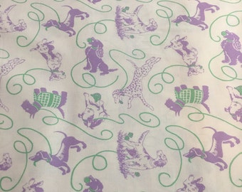 Pampered Pooch by Chloe's Closet for Moda - 15640 17 - Dogs in Green & Lavender on Cream