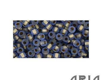Light SAPPHIRE RAINBOW GOLD Lined Matte (997F): 11/o Toho Japanese Seed Beads (10 grams)