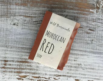 Moroccan Red Soap, Organic Soap, Palm Free Soap, All Natural, Scented, Vegan, Handmade, Cold Process Soap, Wildflower Seed Paper