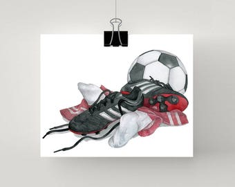 LARGE Soccer print in red