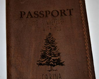 Personalized and custom engraved Leather Passport cover Engraved Personalized Engraved Genuine Leather