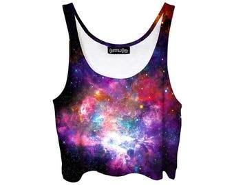 Purple Galaxy Belly Shirt - Intense Stars - Festi Show Clothes - Pastel Goth Belly Tank Top - EDM Clothing