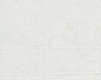 Island Batik Neutrals Sprinkles Light White with Blue Teal Dots Bubble Batik Fabric BTY