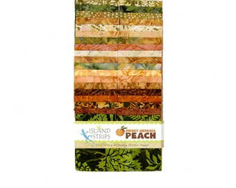 "Island Batik Sweet Georgia Peach Green Rust Brown Batiks Jelly Roll Strips Pack 40 2.5"" Strips of Fabric"