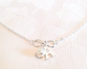 Infinity Necklace, Personalised Necklace, Initial Necklace, Letter Necklace, Pearl Necklace, Personalised Jewelry