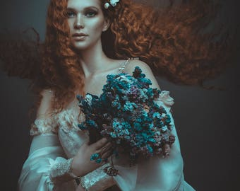 Sale! Bridal dress boho vintage flowers eduardian sleeve romantic gown