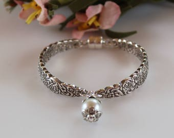 Silver Plated Spoon Bracelet Vintage Flatware Pearl Jewelry