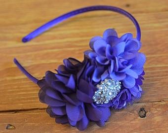 Purple Lavender Flower Headband with Rhinestone Center