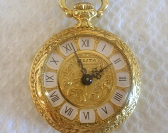 "Vintage Blita Watch / 17 Jewel Watch / Small Dainty Ornate Pocket Style Watch / Dore Metal / Manual Wind Watch / With 28"" Chain"