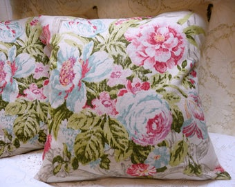 """English Cottage Floral Heavy Weave 20"""" x 20"""" Pillow Slipcover"""
