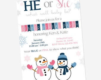 gender reveal invitation, gender reveal party, gender reveal ideas, snowman baby shower, 5x7 invitation
