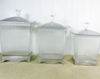 Canisters ,Vintage canisters, clear glass Canister Set,kitchen,vintage canister set,apothecary jars,bathroom decor,Art Deco style, lucite,