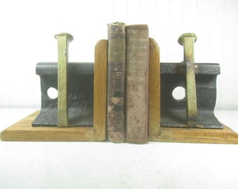 RailRoad Spike Bookends, Railroad Track Bookend, Train Theme Bookends, Oak wood and metal bookend, Train Collectible